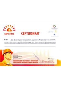 CERTIFICATE OF PARICIPATION IN SAPE-2010 INTERNATIONAL EXHIBITION AND CONFERENCE