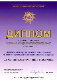 Diploma of the exhibition «Labor Protection in energy sector-2005»