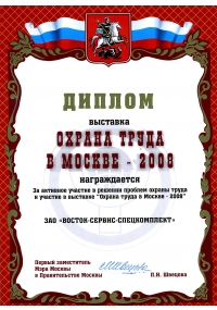 "DIPLOMA OF THE EXHIBITION ""OCCUPATIONAL SAFETY AND HEALTH IN MOSCOW-2008"""