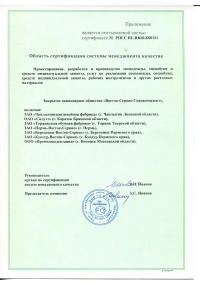 ADDENDUM TO THE CERTIFICATE OF CONFORMITY TO THE REQUIREMENTS OF GOST ISO 9001-2011