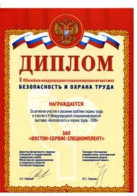 Diploma of the Х Anniversary international specialized exhibition «SaLP -2006».