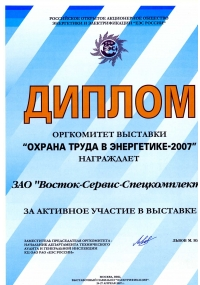 Diploma of the exhibition «Labor Protection in energy sector-2007»