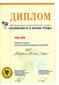 Diploma of the VIII international specialized exhibition SaLP-2004