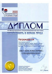 Diploma of the VII international specialized exhibition SaLP-2003
