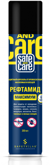 Аэрозоль Safe and Care РЕФТАМИД МАКСИМУМ (30% ДЭТА) д/защ.от насек.и клещ